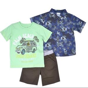 Blue & mint palm beach surf shack shorts set of 3
